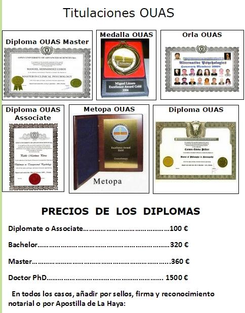 lista precios diplomas falsos OUAS