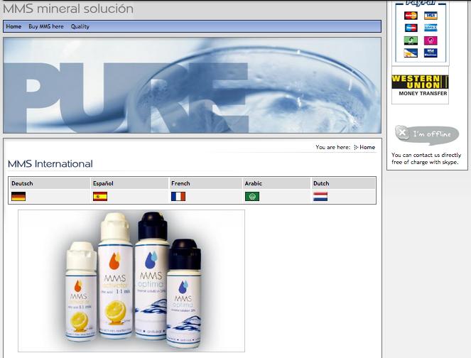 página web de Andreas Kalcker mmsmineral para vender mms
