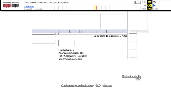 empresa Optibolsa SL como contacto web mmsmineral.com de Kalcker