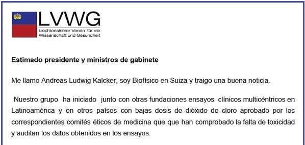 carta enviada a políticos latinoamericanos por kalcker
